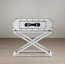 Trans-Atlantic Steamer Trunk X-Base Side Table