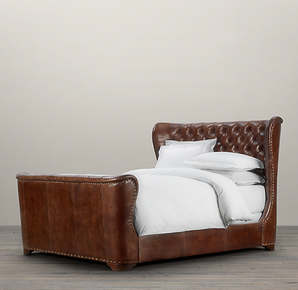Churchill Leather Bed With Footboard