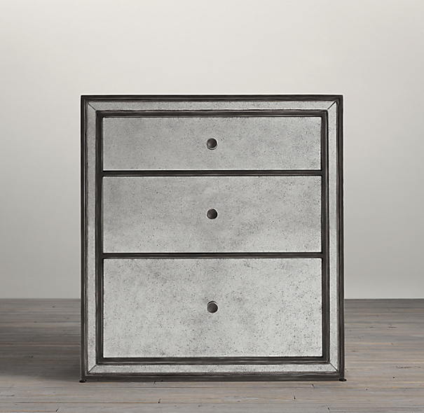 Strand mirrored closed nightstand for Waterfall design nightstand