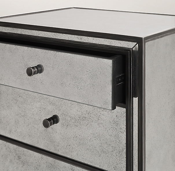 Mirrored Nightstand With Wood Trim