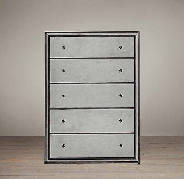 Strand Mirrored 5 Drawer Narrow Dresser