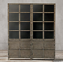 Industrial Tool Chest Glass 4-Door Sideboard & Hutch