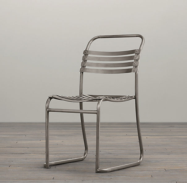 1930s belgian stacking metal side chair for Restoration hardware metal chair