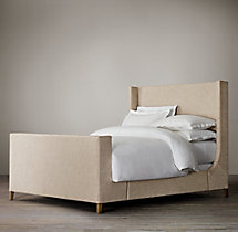 Grayson Fabric Sleigh Bed With Footboard