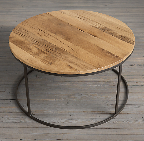 Reclaimed Wood Industrial Round Coffee Table: Watts Reclaimed Oak Round Coffee Table