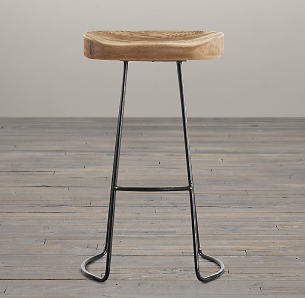 1950s Oak Tractor Seat Barstool