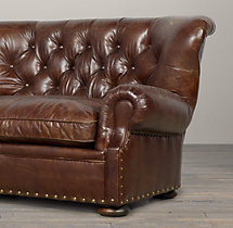 5' Churchill Leather Sofa with Nailheads