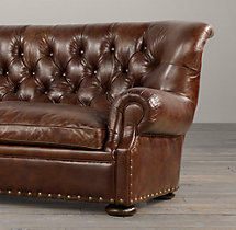 7' Churchill Leather Sofa with Nailheads