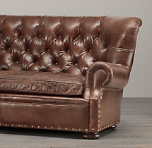 8' Churchill Leather Sofa with Nailheads