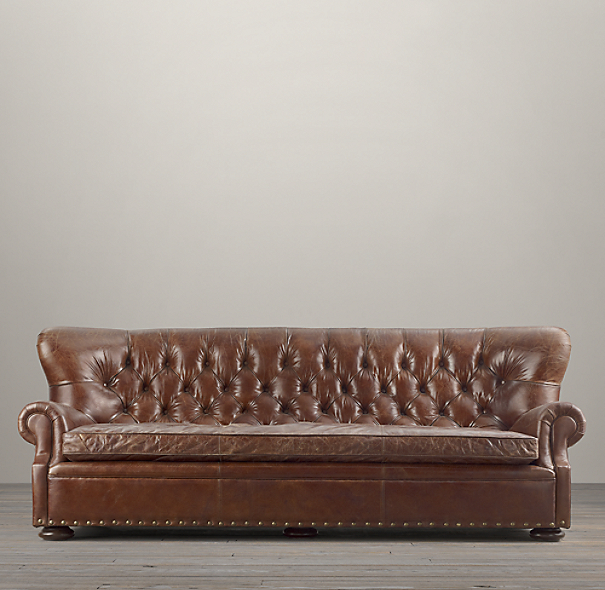 8 39 churchill leather sofa with nailheads for Restoration hardware churchill sofa