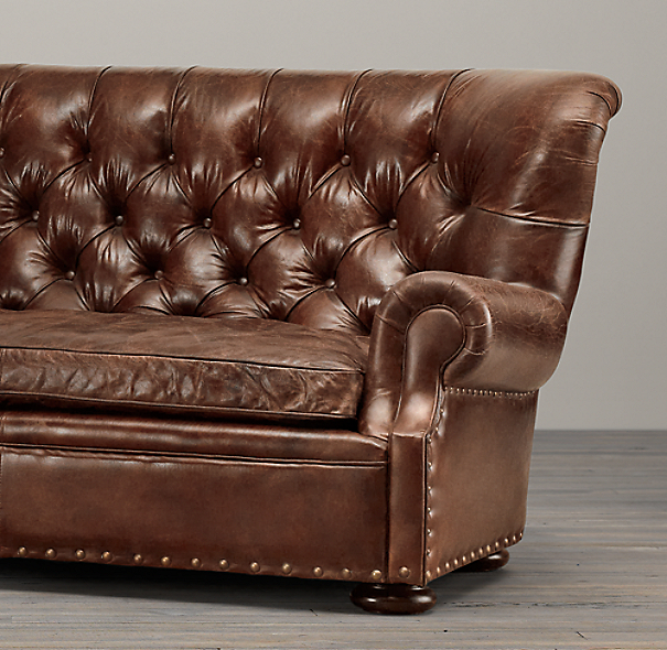 9 39 churchill leather sofa with nailheads for Restoration hardware churchill sofa