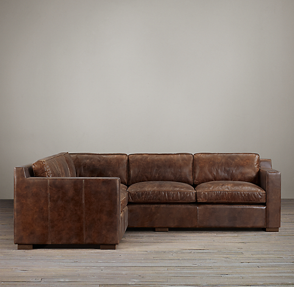 preconfigured collins leather corner sectional
