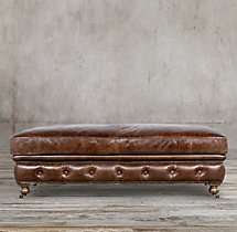 Kensington Leather Coffee Ottoman