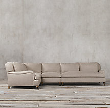 Preconfigured Belgian Classic Roll Arm Upholstered L-Sectional