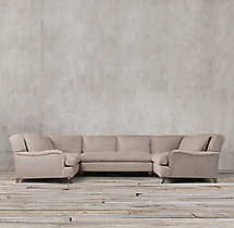 Preconfigured Belgian Classic Roll Arm Upholstered U-Sofa Sectional