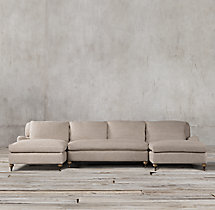 Preconfigured Belgian Classic Roll Arm Upholstered U-Chaise Sectional