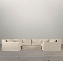 Preconfigured Capri Slipcovered U-Sofa Sectional