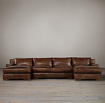 Preconfigured Capri Leather U-Chaise Sectional
