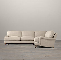 English Roll Arm Upholstered Corner Sectional