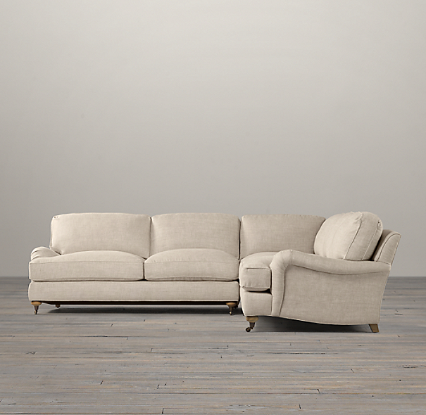 English Roll Arm Upholstered Customizable Sectional