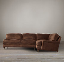Preconfigured English Roll Arm Leather Corner Sectional