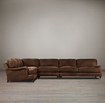 Preconfigured English Roll Arm Leather L-Sectional