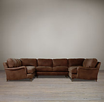 Preconfigured English Roll Arm Leather U-Sofa Sectional