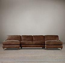 Preconfigured English Roll Arm Leather U-Chaise Sectional