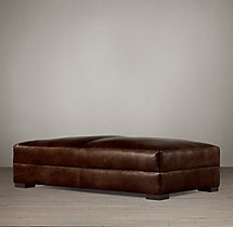 Maxwell Leather Coffee Ottoman