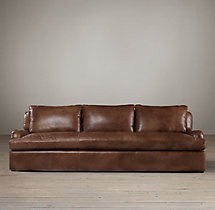 10' Belgian Classic Roll Arm Leather Sofa