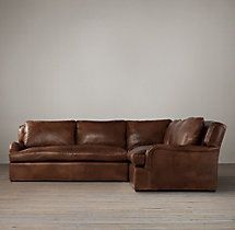 Preconfigured Belgian Classic Roll Arm Leather Corner Sectional