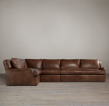 Preconfigured Belgian Classic Roll Arm Leather L-Sectional