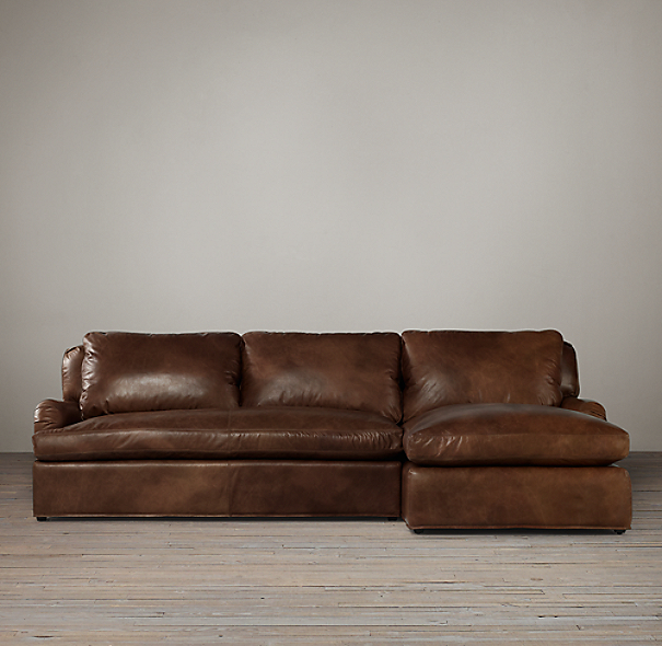 Preconfigured Belgian Classic Roll Arm Leather Right Arm Chaise Sectional