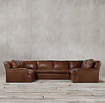 Preconfigured Belgian Classic Roll Arm Leather U-Sofa Sectional