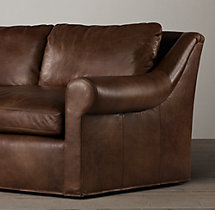 7' Belgian Roll Arm Leather Sofa