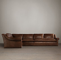 Preconfigured Belgian Roll Arm Leather L-Sectional