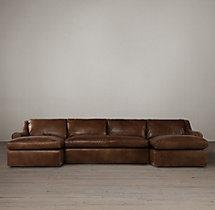 Preconfigured Belgian Roll Arm Leather U-Chaise Sectional