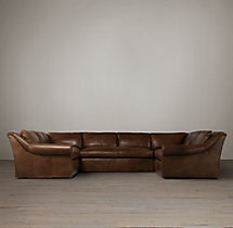 Preconfigured Belgian Roll Arm Leather U-Sofa Sectional
