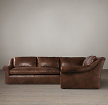 Preconfigured Belgian Roll Arm Leather Corner Sectional