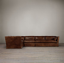 Belgian Shelter Arm Leather L-Sectional