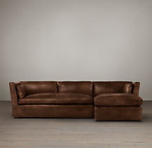 Preconfigured Belgian Shelter Arm Leather Right-Arm Chaise Sectional