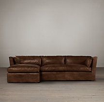 Preconfigured Belgian Shelter Arm Leather Left-Arm Chaise Sectional