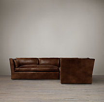 Preconfigured Belgian Shelter Arm Leather Corner Sectional