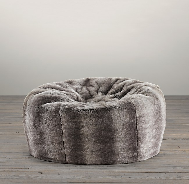 Luxe Faux Fur Bean Bag Chinchilla