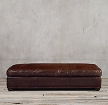 Original Lancaster Leather Coffee Ottoman