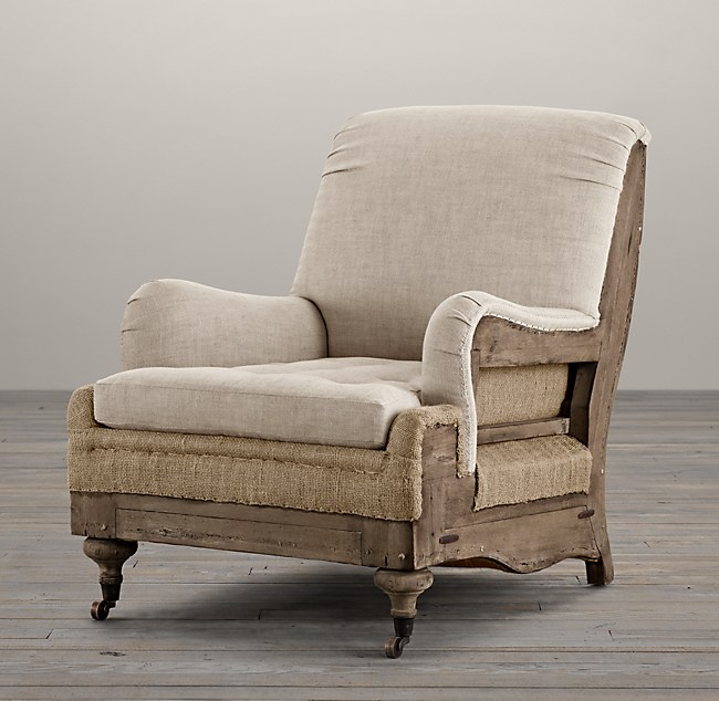 Beautiful Deconstructed English Roll Armchair LI49