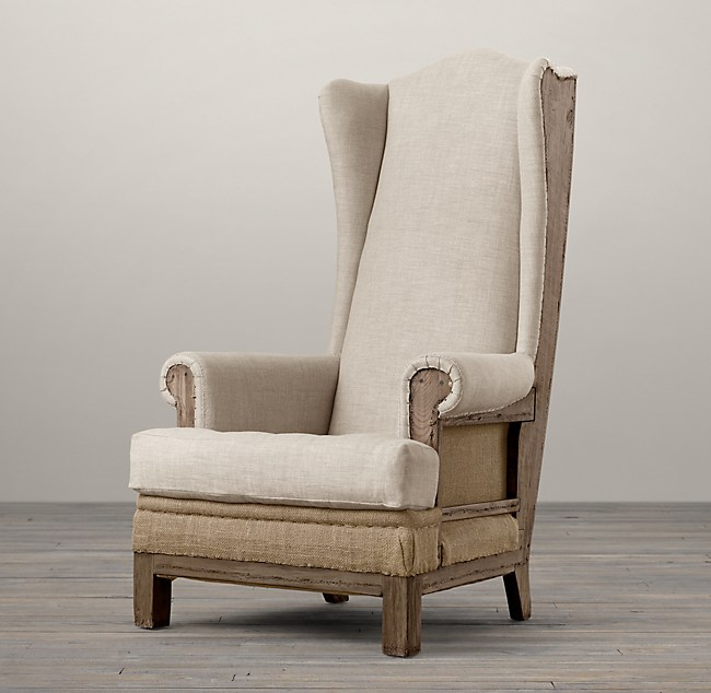 Restoration Hardware 19thc Wing Chair Natural Colour Linen New deconstructed