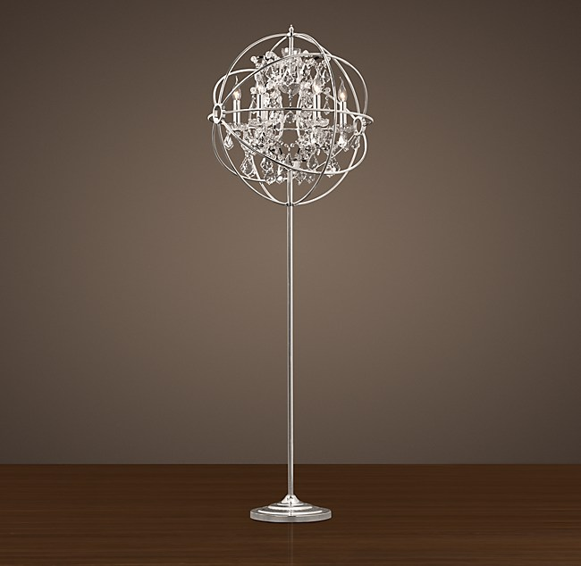 Foucault S Iron Orb Crystal Floor Lamp Polished Nickel