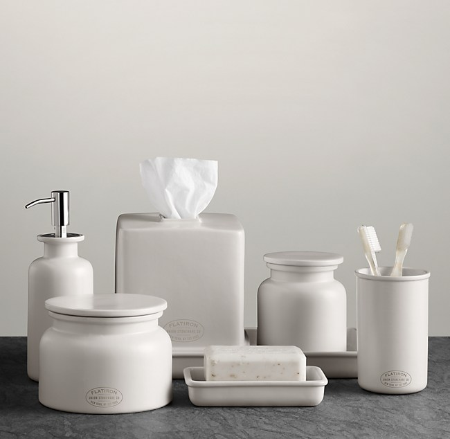 flatiron union stoneware bath accessories white