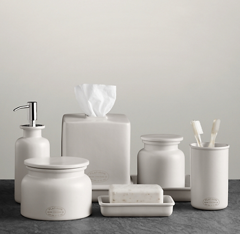 flatiron union stoneware bath accessories white